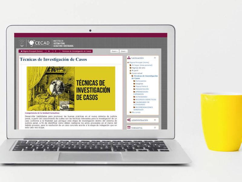 Plataforma virtual donde se desarrolla la maestría en línea